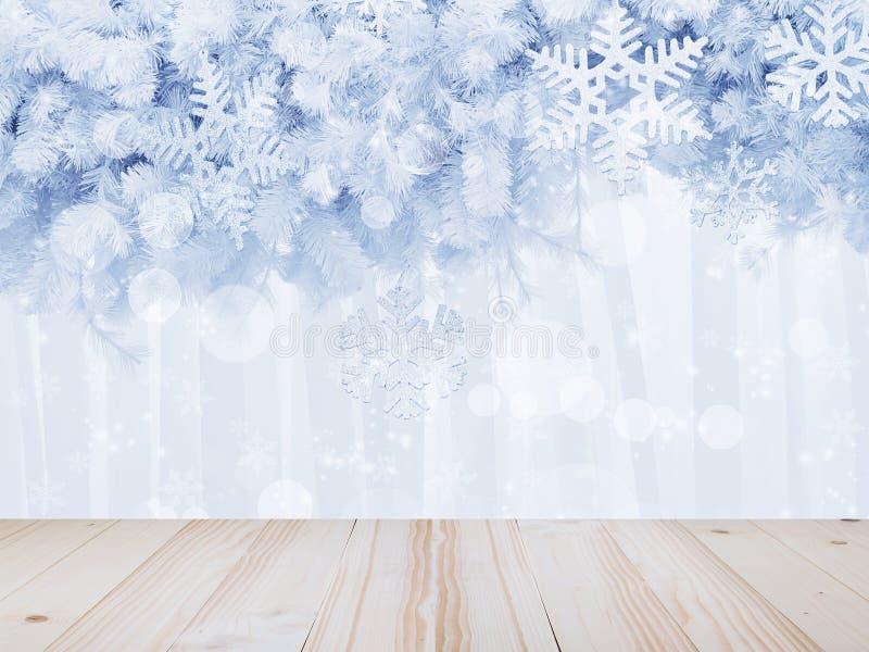 Drewniany stołowy wierzchołek nad srebnymi płatek śniegu kształtuje i połyskuje na sośnie zdjęcie stock