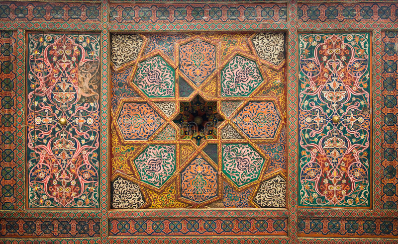 Drewniany sufit, od Khiva orientalni ornamenty zdjęcia royalty free