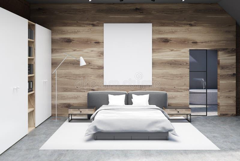 Drewniany sypialni wnętrze, plakat, garderoba royalty ilustracja