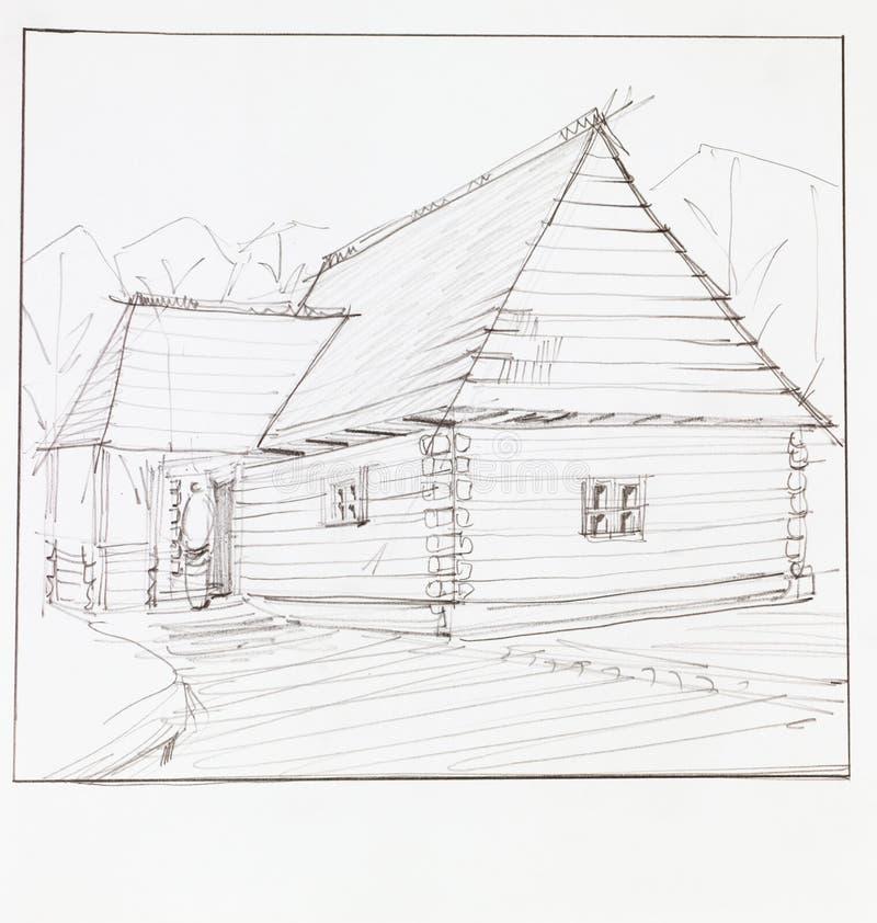 Drewniany szalet ilustracji