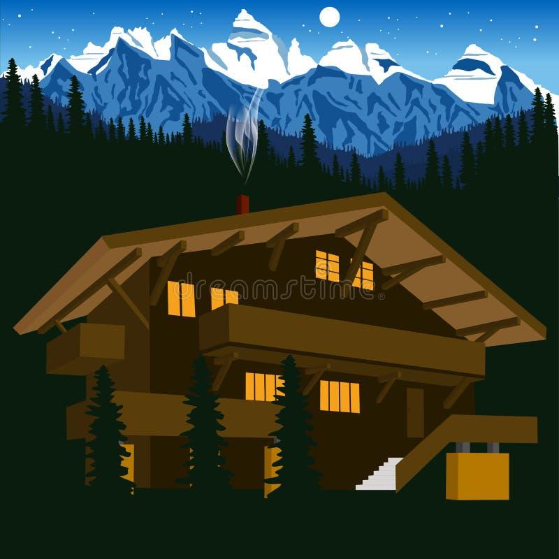 Drewniany szalet w halnych alps przy nocą ilustracji