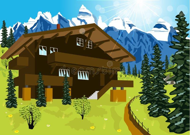 Drewniany szalet w halnych alps przy wiejskim lato krajobrazem royalty ilustracja