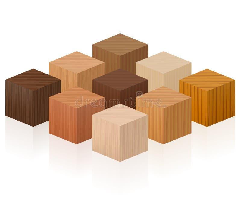 Drewniany sześcianu drewno Pobiera próbki tekstury ilustracji