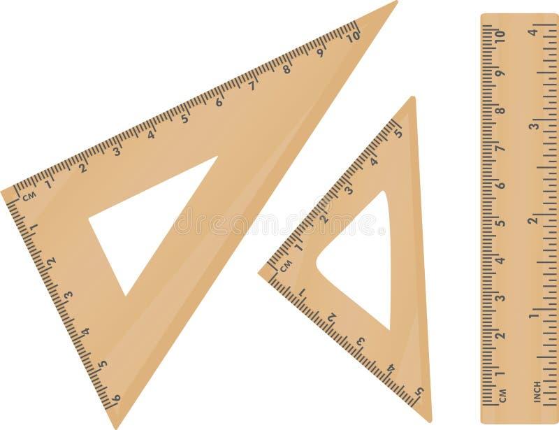 Drewniany szkolny trójbok i władca royalty ilustracja