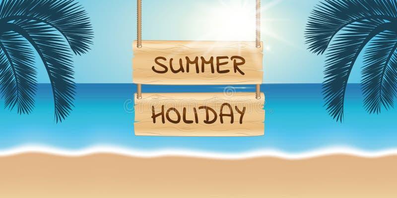 Drewniany szyldowy wakacje letni na pi?knej palmy pla?y ilustracja wektor