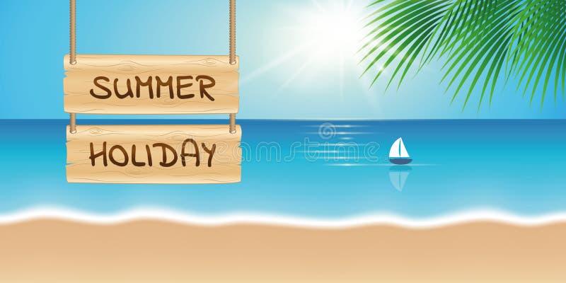 Drewniany szyldowy wakacje letni na pięknej palmy plaży z żaglówką royalty ilustracja