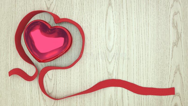 Drewniany tło z czerwonym sercem i faborkiem zdjęcia royalty free