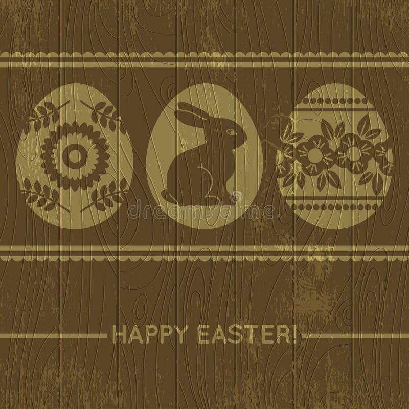 Drewniany tło z Easter jajkami, wektor