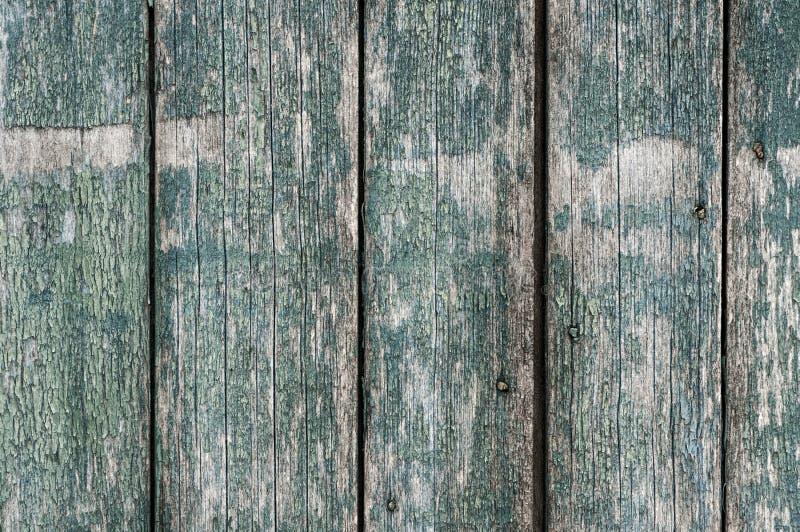 Drewniany tło z pionowo deskami, strugający zielonych farby i metalu kolce obraz royalty free