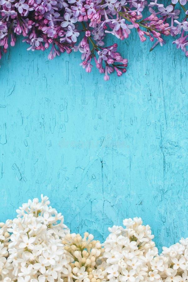 drewniany tło z ramą kwiaty bez zdjęcia stock