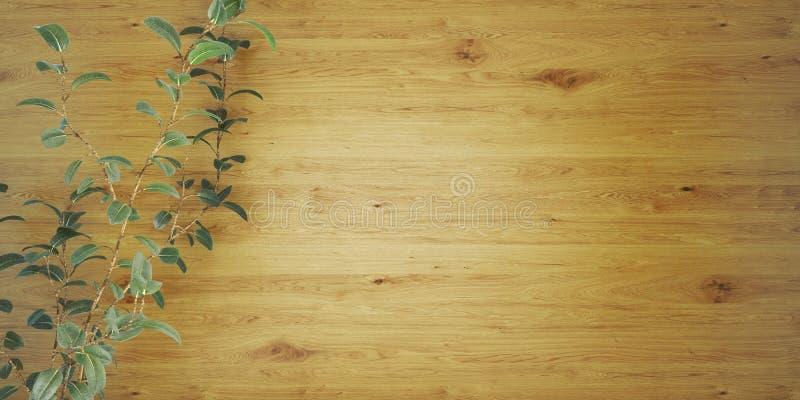 Drewniany tło z rośliny 3D ilustracją ilustracji