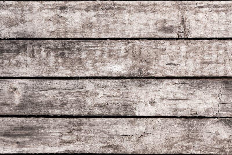 Drewniany tło z starymi podławymi rocznik deskami Popielata drewno ściana horyzontalne deski obrazy stock