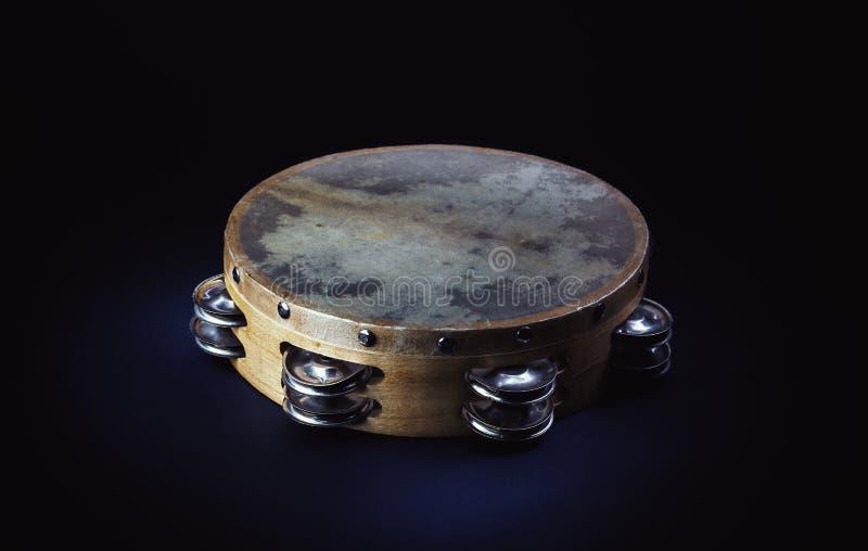 Drewniany Tambourine w studiu zdjęcie royalty free