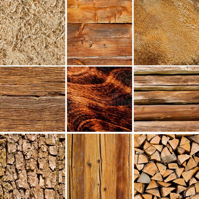 Drewniany tekstura kolaż obrazy royalty free
