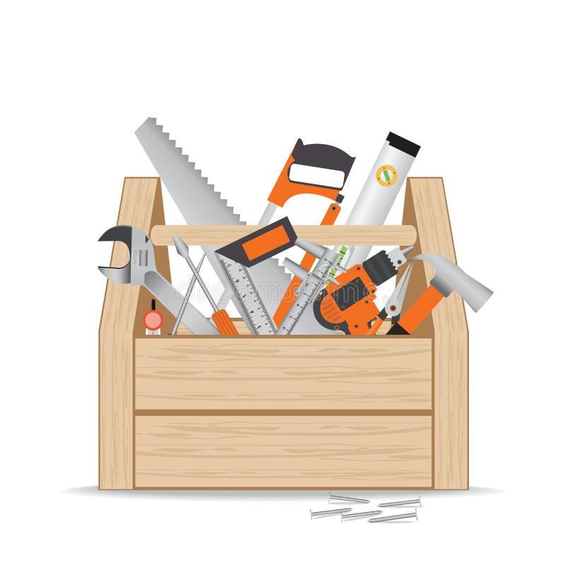 Drewniany toolbox z naprawy i budowy pracującymi narzędziami na whi ilustracji
