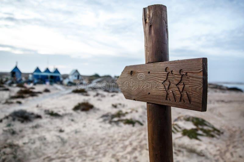 Drewniany turystyczny pointer, podróżnicy z plecakami na talerzu zdjęcie royalty free