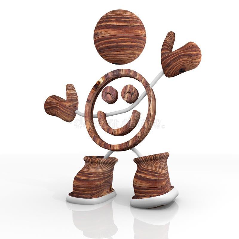 Download Drewniany Uśmiechu 3d Charakter Ilustracji - Ilustracja złożonej z abstrakt, stojak: 28974001