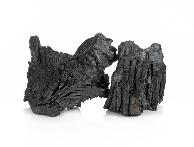 Drewniany węgiel drzewny odizolowywający na białym tle obraz stock