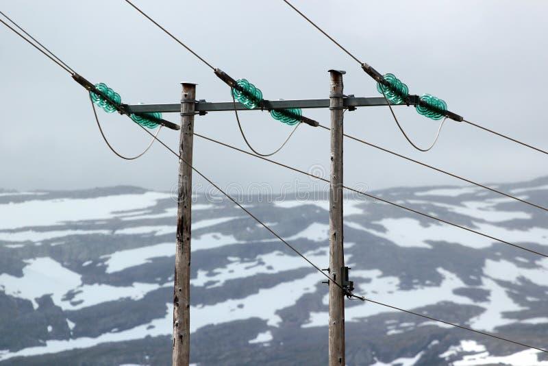 Drewniany władza pilon w górach, Norwegia obraz royalty free
