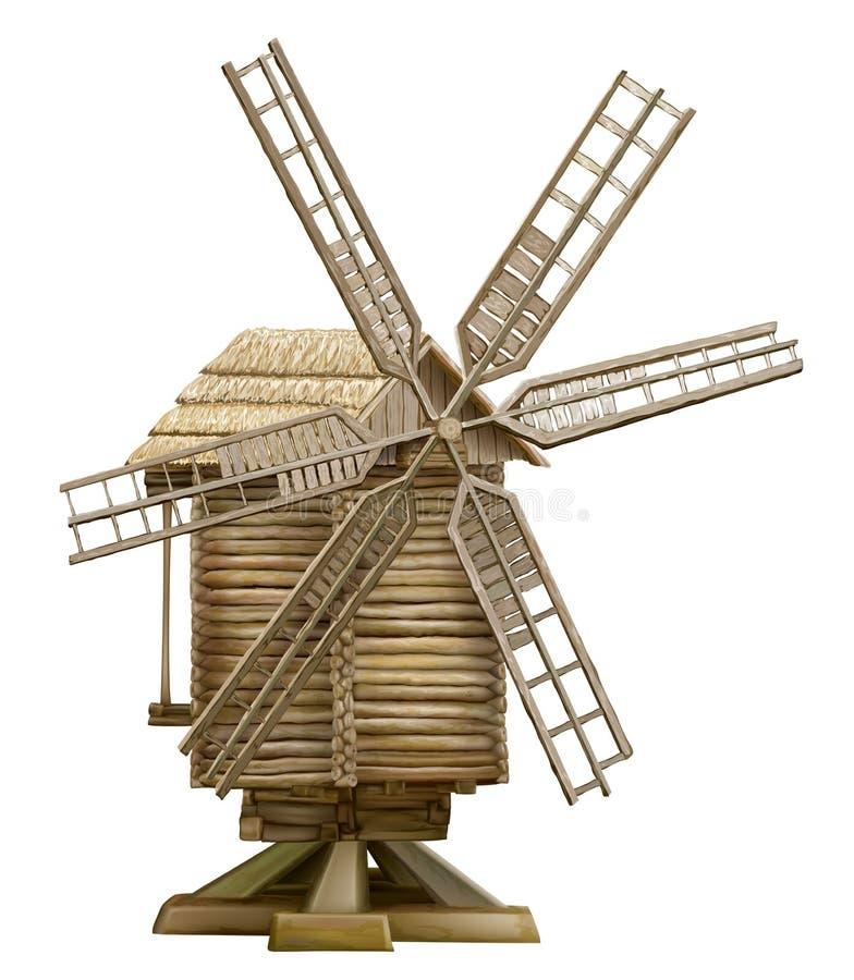 Drewniany wiatraczek ilustracja wektor