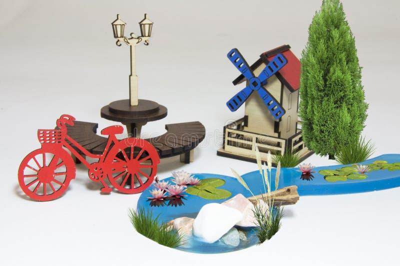 Drewniany wodnego młynu maquette fotografia royalty free