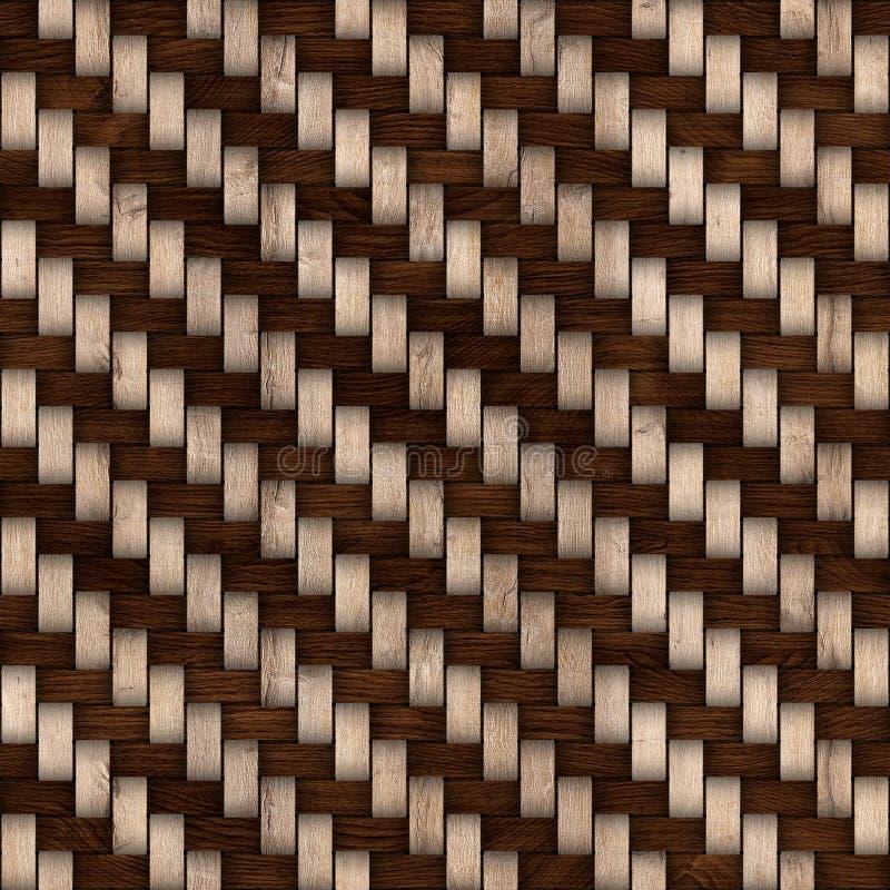 Drewniany wyplata tekstury tło abstrakcjonistycznego tła koszykowego dekoracyjnego ilustraci wzoru bezszwowy wektorowy tkactwo dr ilustracja wektor