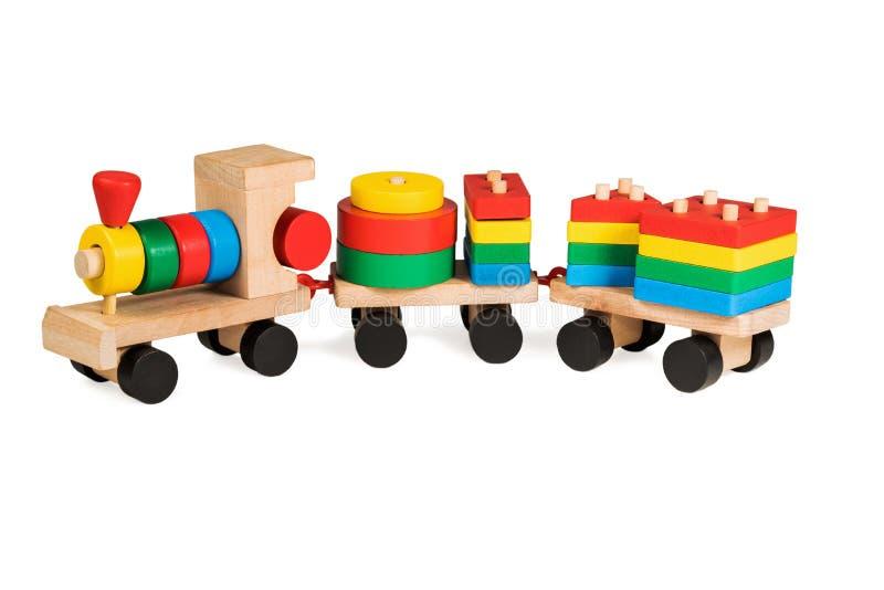 drewniany zabawka kolorowy pociąg obrazy stock