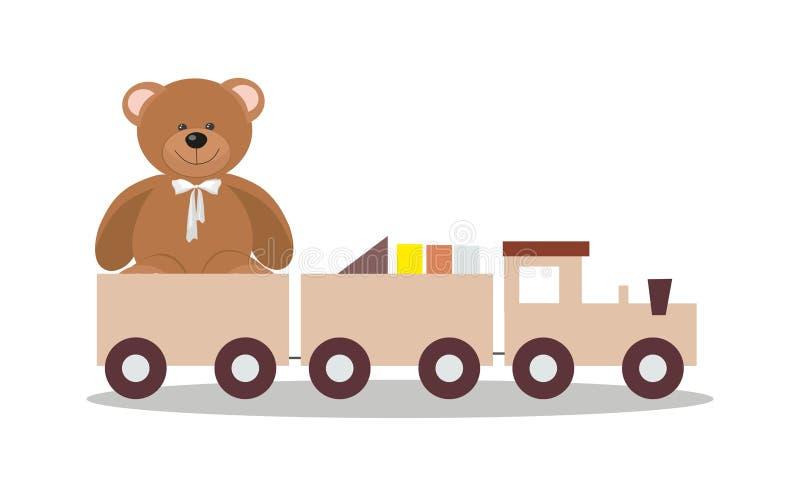 Drewniany zabawka pociąg z kolorowymi blokami i misiem ilustracja wektor