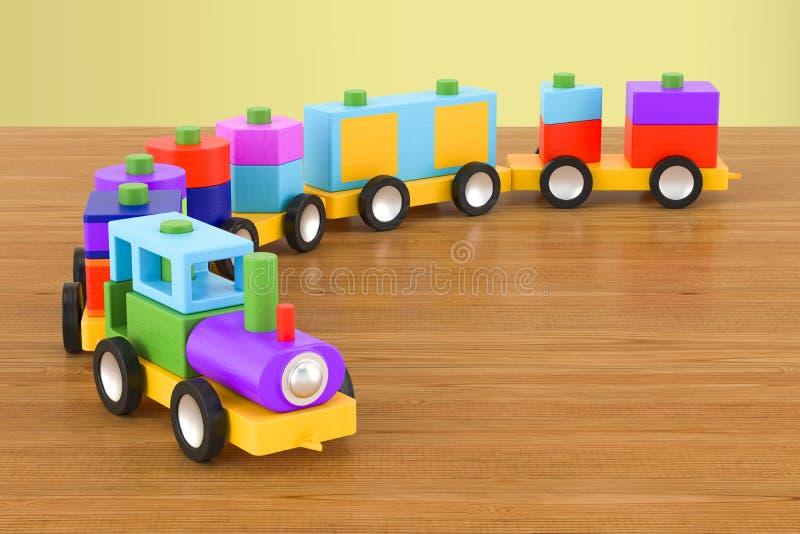Drewniany zabawka pociąg z kolorowymi blokami na drewnianym stole 3d ren royalty ilustracja