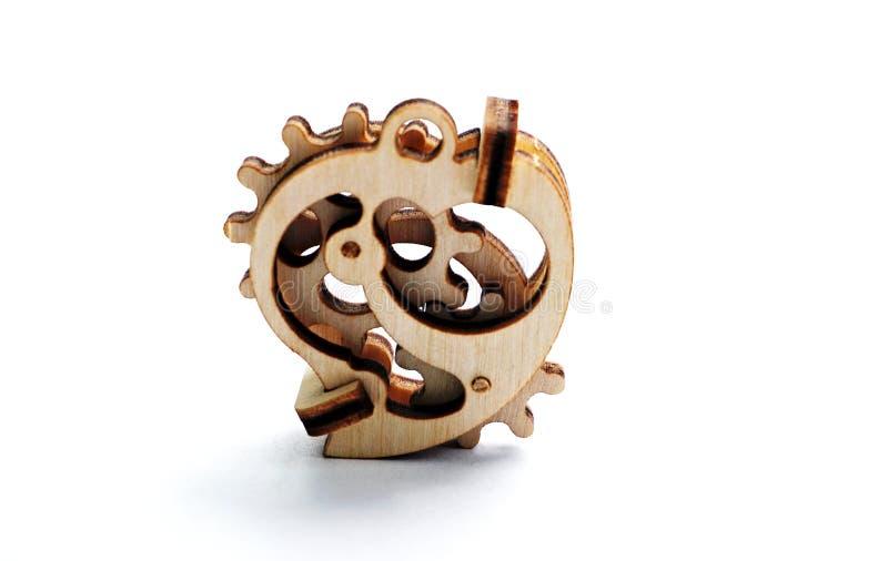 Drewniany zabawkarski serce obrazy royalty free
