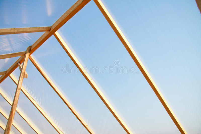 drewniany zakrywający szklarniany polietylen zdjęcie royalty free
