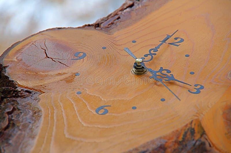 Drewniany zegar zdjęcie stock