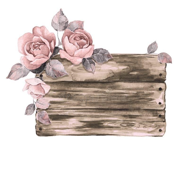 Drewniany znak 1 i kwiaty ilustracja wektor