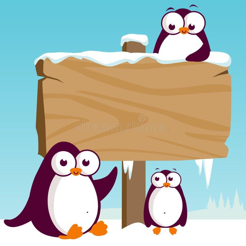 Drewniany znak na śnieżnym krajobrazie z pingwinami ilustracji