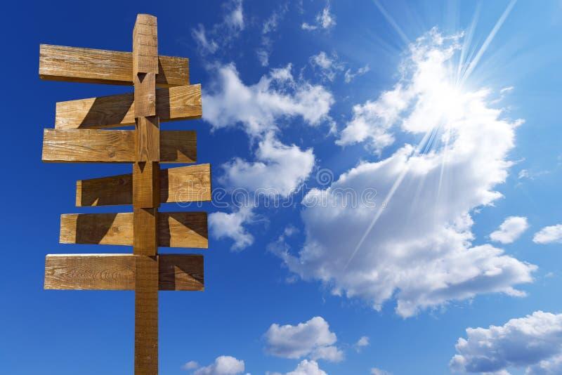 Drewniany znak na niebieskim niebie z chmurami zdjęcia royalty free