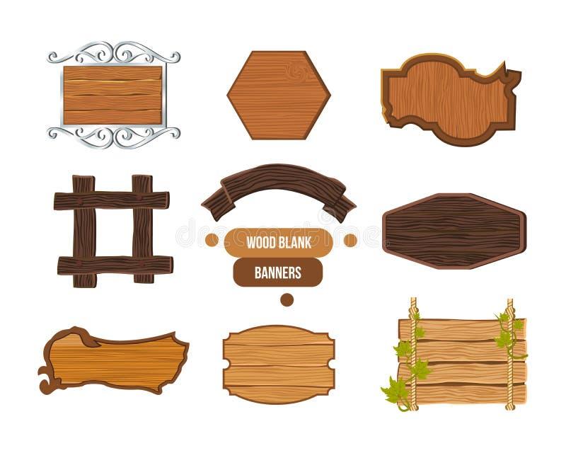 Drewniany znak, różnorodni kształty, kolory, tekstury drewno i metal, ilustracja wektor