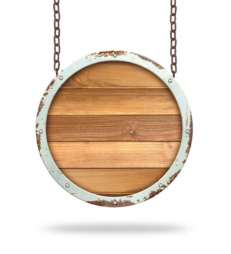 Drewniany znak wiszący na łańcuchu izolowanym na białym tle fotografia royalty free