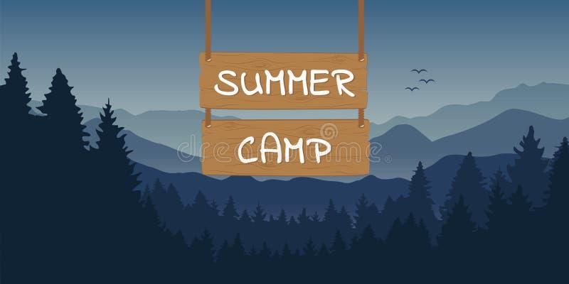 Drewniany znak z obóz letni typografią przy błękitnym góry i lasu krajobrazem royalty ilustracja