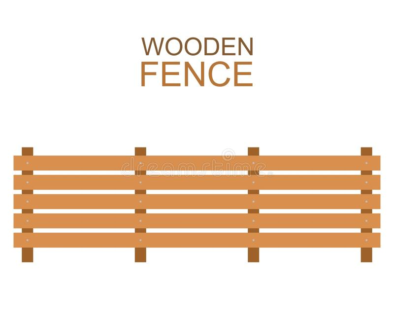 Drewnianych rolnych desek sylwetki płotowa drewniana budowa w mieszkanie stylu ilustracji