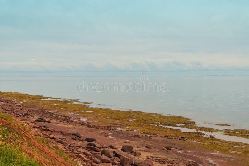 Drewnianych wysp piaska czerwona linia brzegowa blisko latarni morskiej obrazy stock