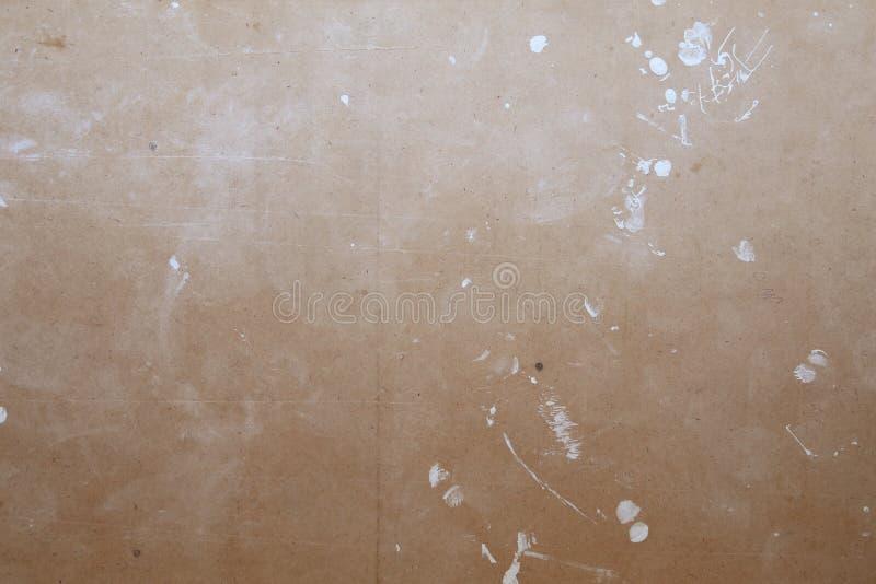 Drewno ściana z białą farbą, hardboard, fiberboard, hardboard plamiący z bielem i brąz, malujemy dla naprawy abctract fotografia royalty free