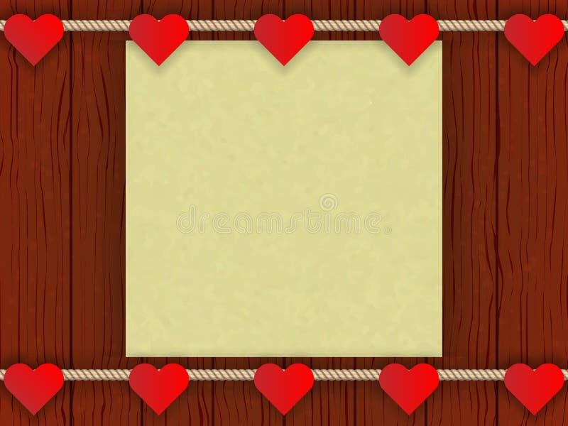 Drewno ściana z romantycznym wystrojem ilustracji