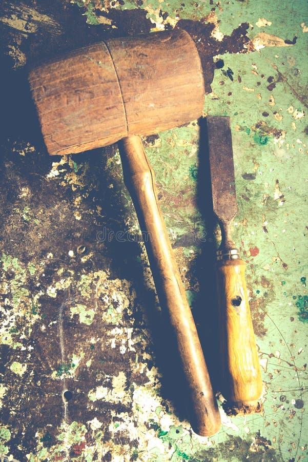 Drewno ścinak i młot fotografia royalty free