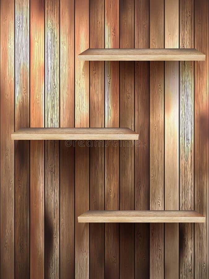 Drewno 3d odizolowywający opróżnia półkę dla eksponata.  royalty ilustracja
