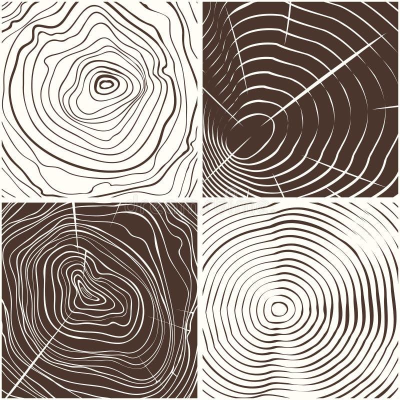 Drewno dzwoni tekstury tło ilustracja wektor
