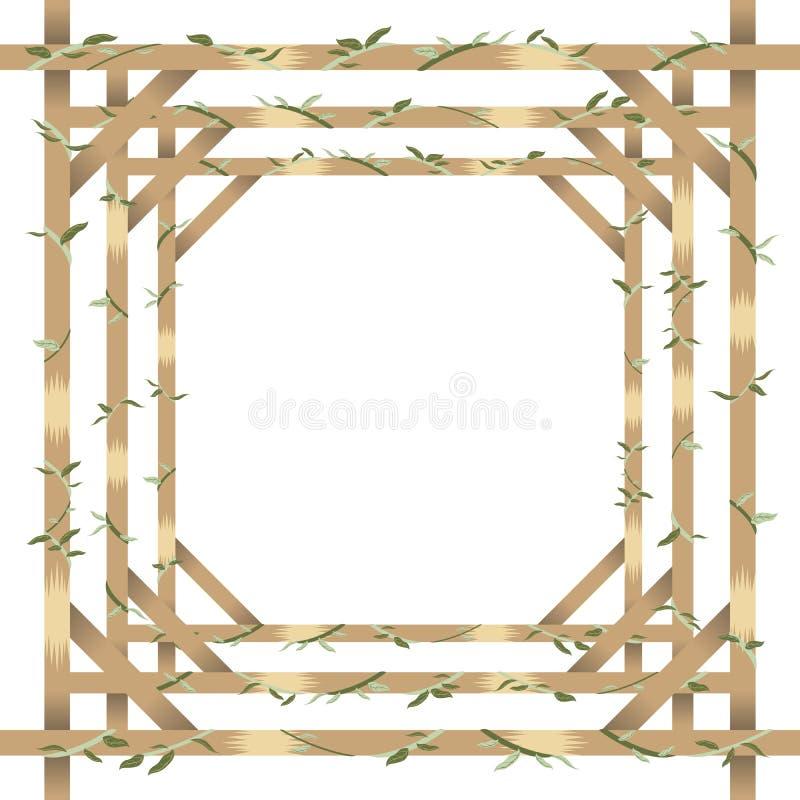 Drewno, liść granica i rama i royalty ilustracja