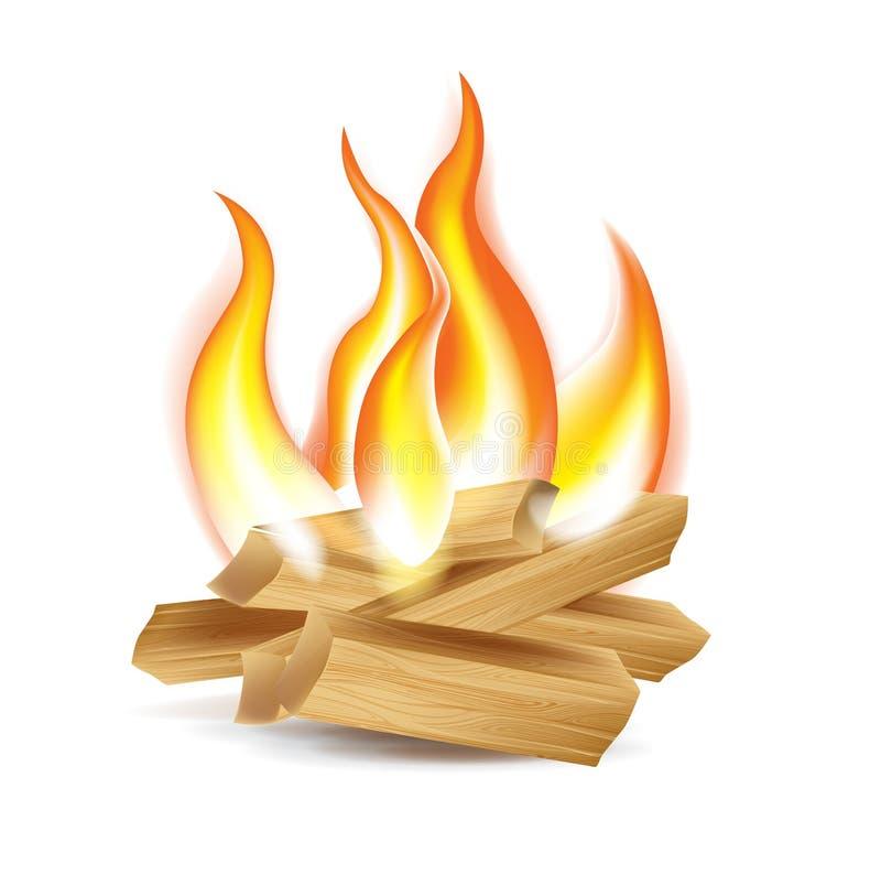 Drewno obozu ogień odizolowywający na bielu ilustracja wektor