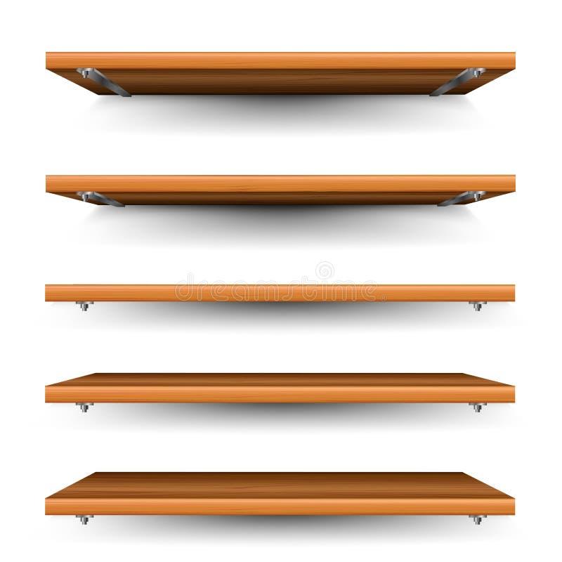 Drewno półki ustawiać ilustracji