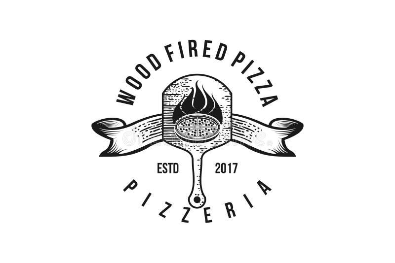 drewno podpalający pizza loga klasyczny projekt ilustracji