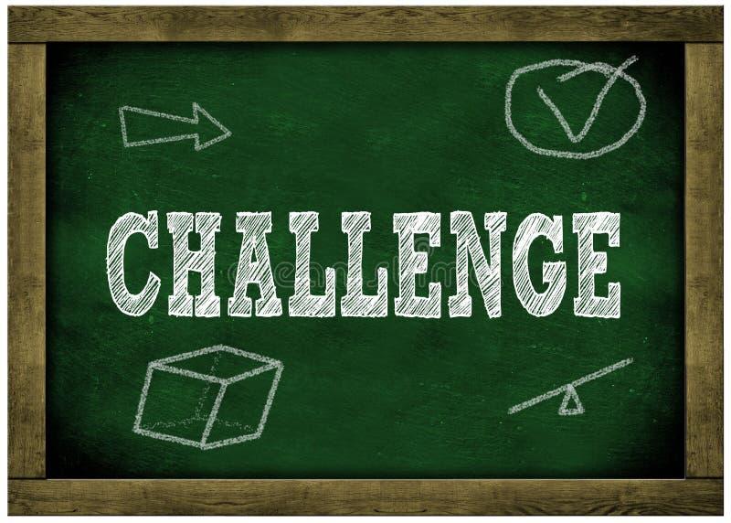 Drewno ramy zieleni chalkboard z wyzwanie wiadomością ręcznie pisany w kredzie ilustracji